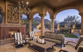 mediterranean luxury home outdoor seating area classic