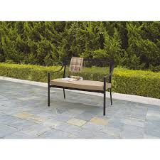 Garden Bench With Cushion Mainstays Bellingham 2 Seat Cushion Bench Tan Walmart Com
