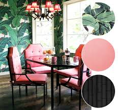 banana leaf print wallpaper pink dining room chairs black
