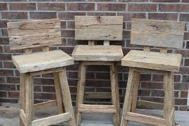 Bar Stool Chairs With Backs Picture Of Rustic Bar Stool With Back Made Of Reclaimed Wood