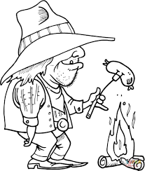 cowboy is grilling a sausage coloring page free printable