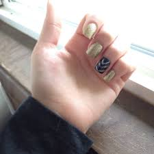 prom nails navy blue and gold glitter acrylic nails nails