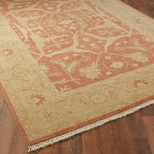 coral and golden sand traditional oushak rug shades of light