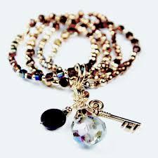 crystal bracelet charms images Swarovski crystal bcharmd gold bronze crystal 4 charm bracelet jpg