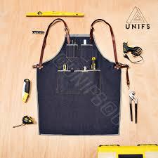 tablier de cuisine homme personnalisé tablier de travail en denim bleu foncé tablier chic et de qualité