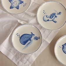 assiette de cuisine monde sous marin ping os assiette en porcelaine bleu océan basé dim