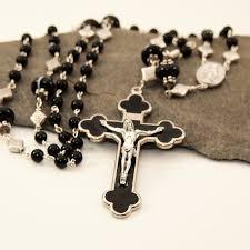 custom rosary black agate rosary with sardonyx paters black enamel byzantine cross