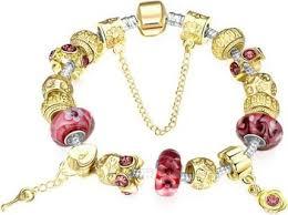 pandora bracelet murano glass images Gold charm bracelet for women with exquisite murano glass beads jpg