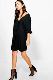 sade v neck off shoulder shirt dress boohoo