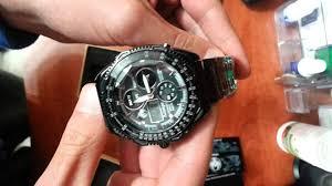 mens quartz sport army aviator wrist black stainless steel