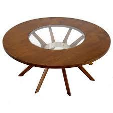 contemporary round coffee table splay leg mid century modern round walnut coffee table at 1stdibs
