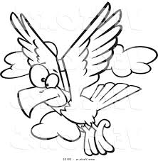 best hd vector of cartoon eagle flying coloring page outline by
