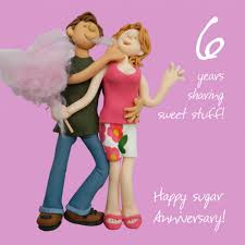 happy 6th sugar anniversary greeting card one lump or two cards