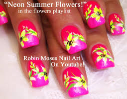neon flower nail art flowers nail art pictures with tutorials