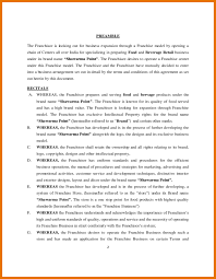 8 sample franchise agreement itinerary template sample