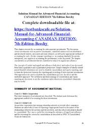 solution manual for advanced financial accounting canadian edition