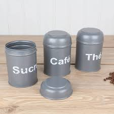 Canister For Kitchen Slate Grey Tea Coffee And Sugar Canisters Neutral Kitchen Teas
