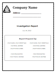 investigation report template investigation report template formsword word templates sle
