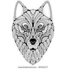 coloring page of wolf handdrawn wolf ethnic floral doodle pattern stock vector 667051777
