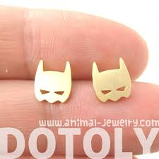 batman earrings batman symbol mask shaped stud earrings in gold allergy free