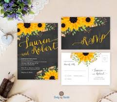 sunflower wedding invitations chalkboard wedding invitations only by invite