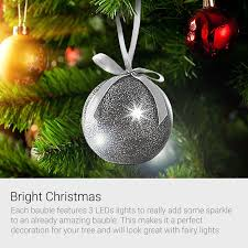 recordable message led glitter bauble gold