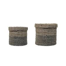 Seagrass Storage Ottoman Lidded Seagrass Storage Baskets Lidded Wicker Storage Baskets