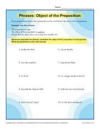 phrases object of the preposition prepositional phrase worksheets