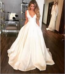 satin wedding dresses 2018 gown satin wedding dresses v neck simple