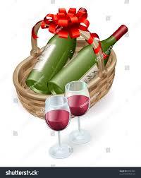 wine bottle bow illustration wicker wine basket wine stock vector 87097061