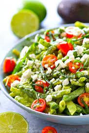green bean salad with avocado green goddess dressing