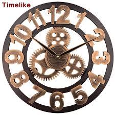 aliexpress com buy 2017 art large gear wall clock handmade 3d