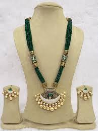 zircon necklace set images Babosasakhi long kundan zircon necklace green bollywood indian jpg&a