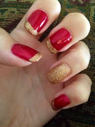 red and gold nails perfect for fall beauty pinterest gold