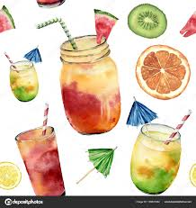 watercolor cocktail watercolor pattern with tropicalcocktail exotic fruit hand