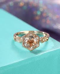 unique engagement ring morganite engagement ring gold vintage unique engagement ring