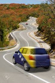 Flag Of Bosnia Traveling Car In National Flag Of Bosnia Herzegovina Colors And