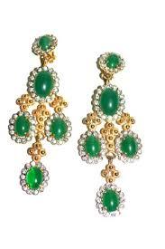 Huge Chandelier Earrings Green Glass Large Kjl Chandelier Earrings 1960s Sarara Couture