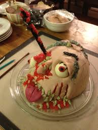 zombie head cake for the walking dead viewing party food