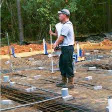 pouring the concrete slab