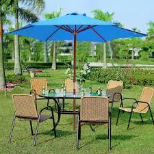Patio Table Parasol by 8ft 6 Ribs Patio Wood Umbrella Wooden Pole Outdoor Garden Pool