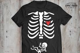 Skeleton Baby Boy And Halloween Maternity T Shirt Vector