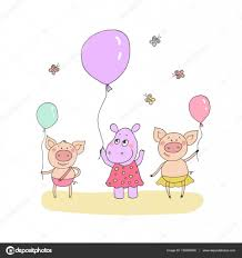 cute little pigs and baby hippo u2014 stock vector mayaiva 135685048