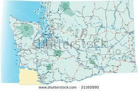 washington state highway map interstates us stock vector 21160990