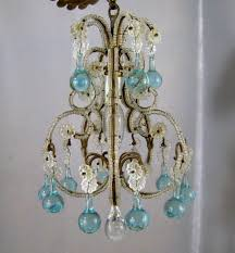 petite chandelier petite vintage beaded birdcage chandelier aqua blue prisms powder