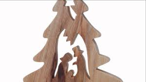 olive wood christmas tree ornament w nativity youtube