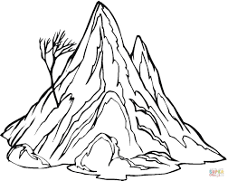 the mountain and a lonely tree coloring page free