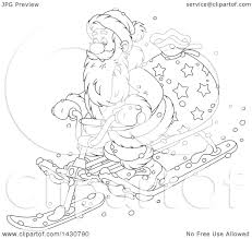 clipart of a cartoon black and white lineart christmas santa claus