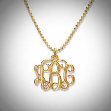 Monogrammed Necklace Gold Personalized Monogram Necklaces Gold U0026 Silver Monogram Necklaces