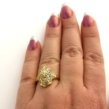 art deco filigree ring with diamond in 14k yellow gold reproduction